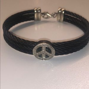 Jewelry - Black rope chord bracelet with diamond peace sign